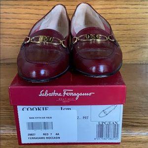 Women's Ferragamo size 7 red loafers moccasin